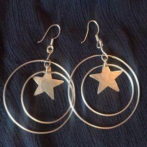 Jewelry - Sterling Silver Star Double Hoop Earrings